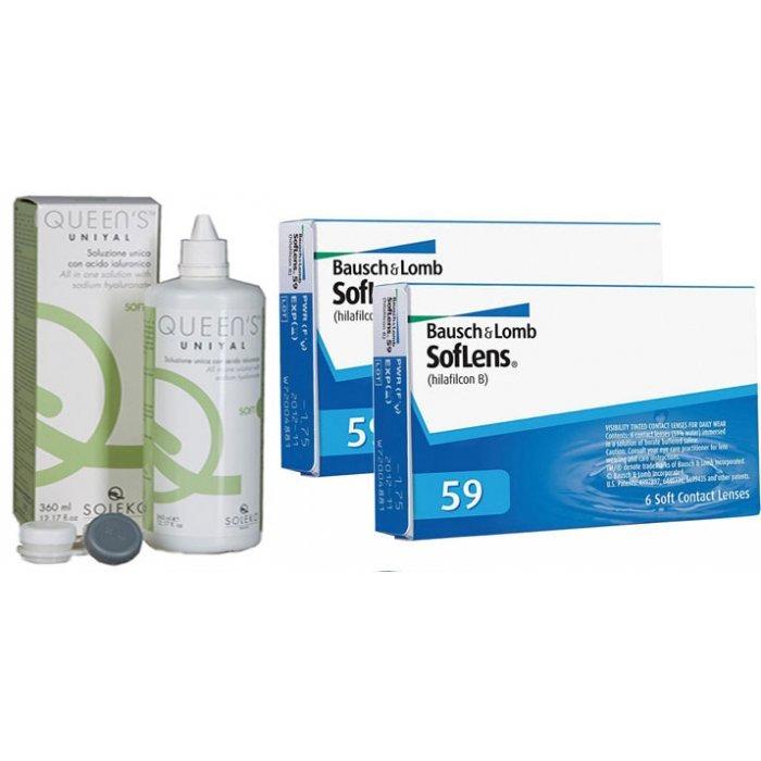 12 monthly Soflens 59 (2 Packs) + Gift 1 Liquid 360ml