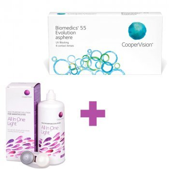 6 Monthly Soft Contact Lenses Biomedics 55 + GIFT 1 Liquid 360ml